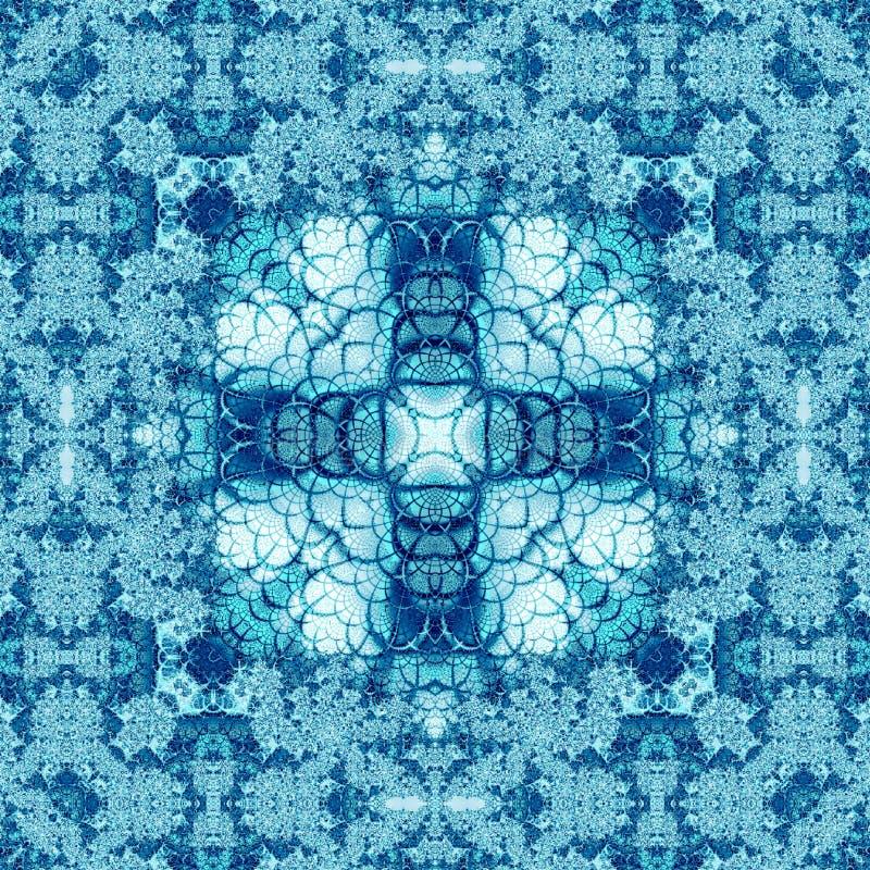 Caleidoscópio cruciforme azul do porto do fractal ilustração royalty free