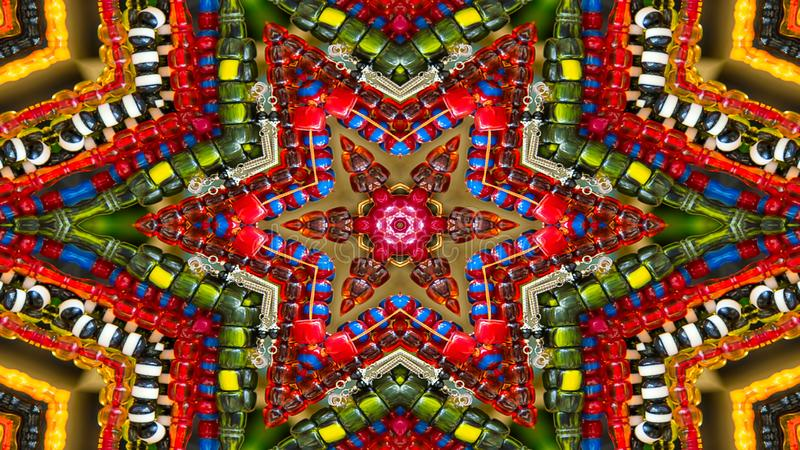 Caleidoscópio simétrico hipnótico colorido fotografia de stock royalty free
