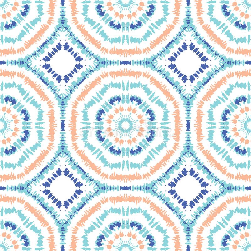 Caleidoscópio Sunburst brilhante do Aqua, o alaranjado e o azul hexágono espelhado Mandala Vetora Seamless Pattern de Shibori da  ilustração do vetor