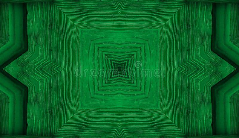Caleidoscoop groene achtergrondfractal mandala, het eraan herinneren doorbladert of het houten bloemenpatroon van het textuur geo stock fotografie