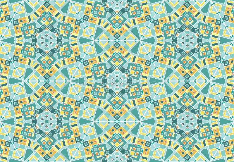 Caleidoscoop, ingewikkeld geometrisch naadloos patroon vector illustratie