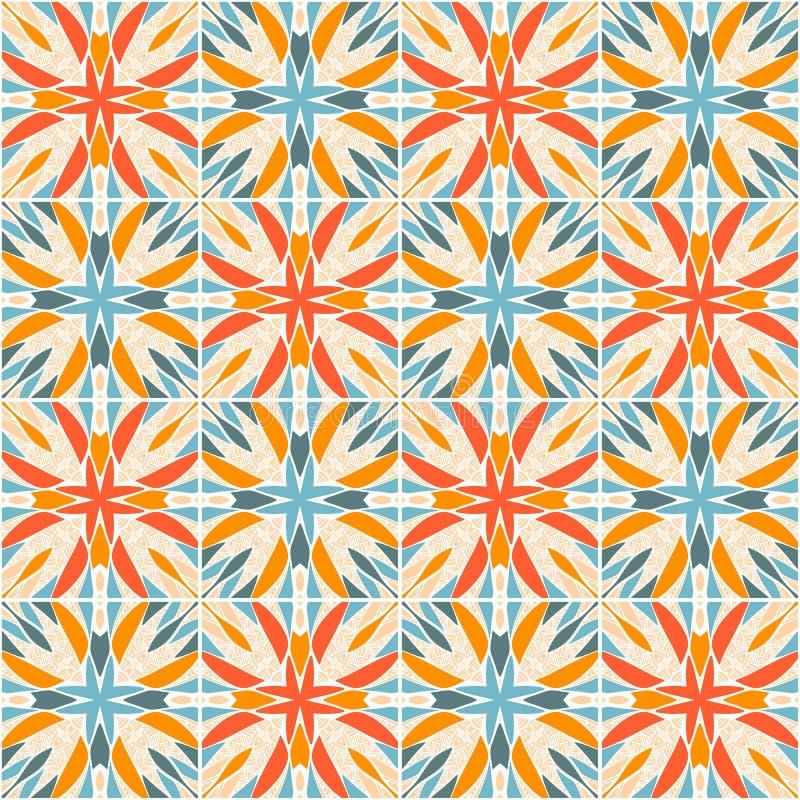 Caleidoscoop Kleurrijk vector naadloos patroon Heldere tegels met abstract ornament royalty-vrije illustratie