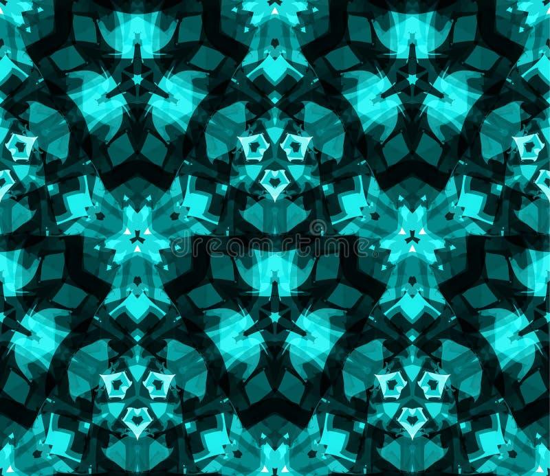 Caleidoscoop naadloos patroon, achtergrond, die uit abstracte vormen in wintertaling bestaan vector illustratie