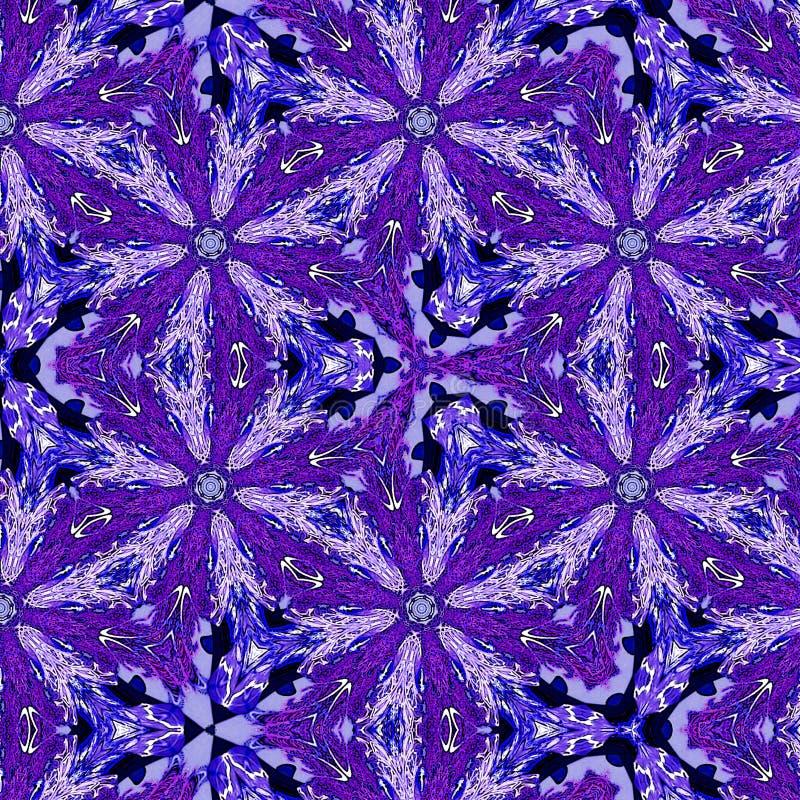 Caleidoscoop ononderbroken ornament in violette kleur stock illustratie