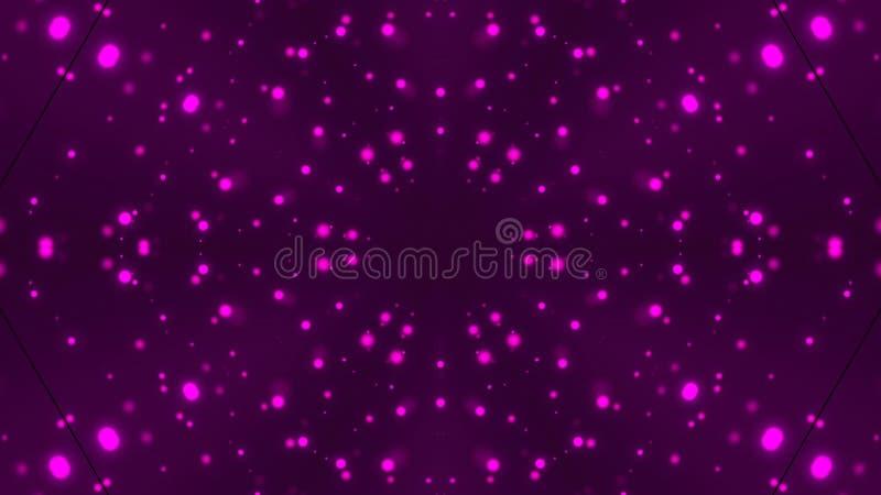Caleidoscopio con le particelle luminose tremule della viola, fondo generato da computer moderno, rappresentazione 3D illustrazione vettoriale