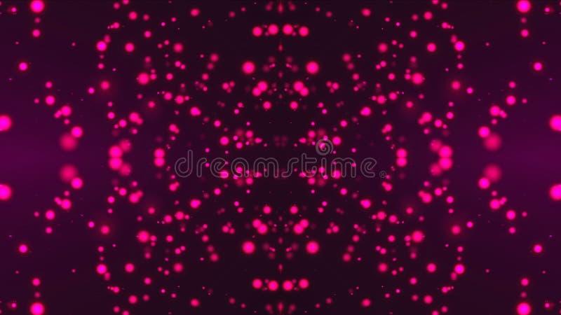 Caleidoscopio con le particelle luminose tremule della viola, fondo generato da computer moderno, rappresentazione 3D royalty illustrazione gratis