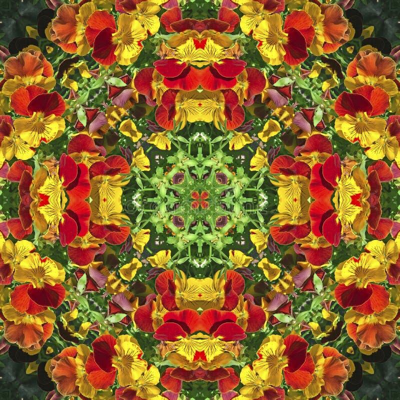Caleidoscopio con motivos naturales de flores amarillas y anaranjadas ilustración del vector