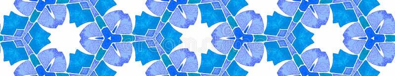 Caleidoscopio d'annata Borde senza cuciture del blu di turchese illustrazione vettoriale