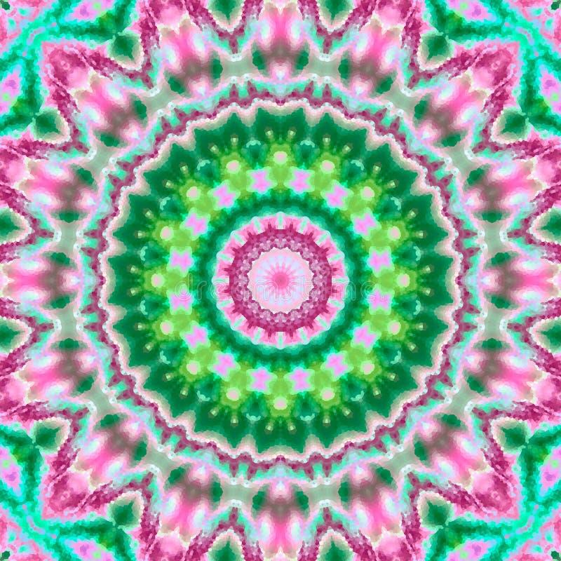 Caleidoscopio redondo de seda multicolor abstracto de la mandala ilustración del vector