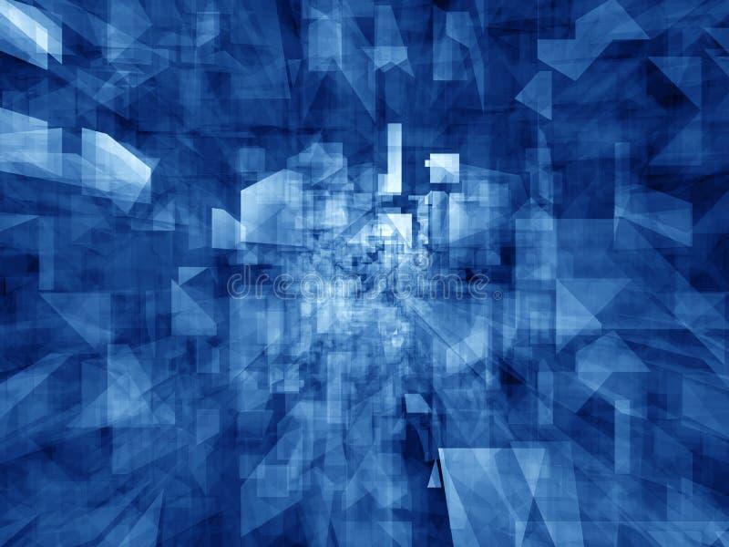 Caleidoscopio - reflexiones azules cristalinas stock de ilustración