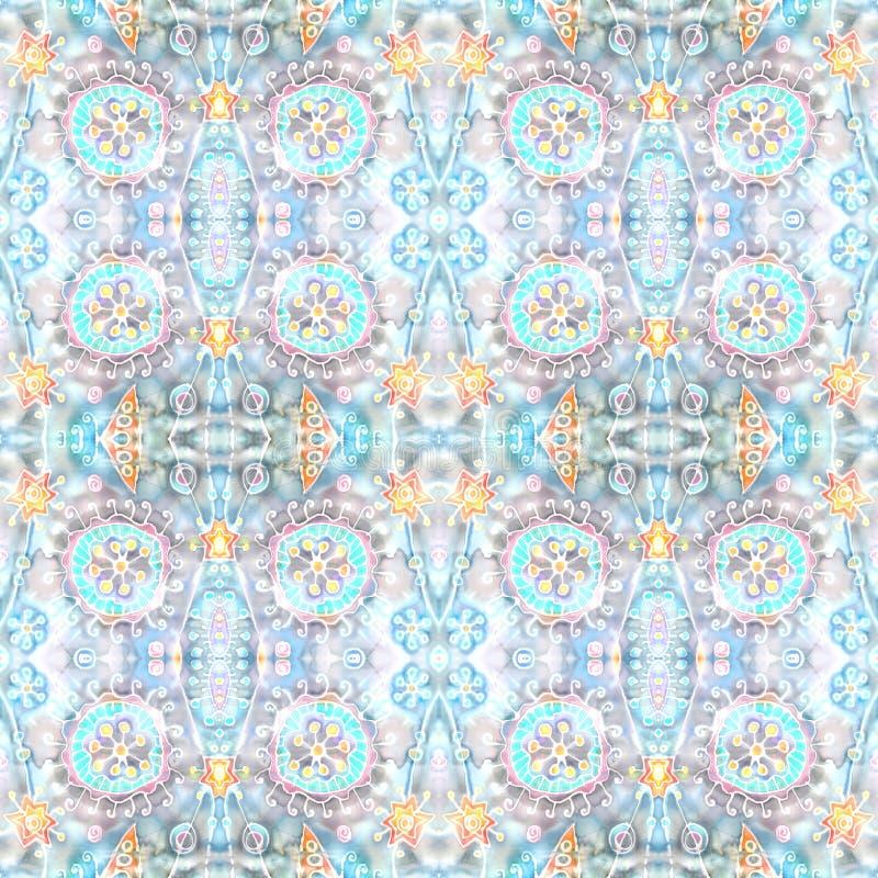 Caleidoscopisch naadloos patroon Hand-schildert op zijde Abstracte bloemen, sterren, plonsen, ornament De afdeling van de cel vector illustratie