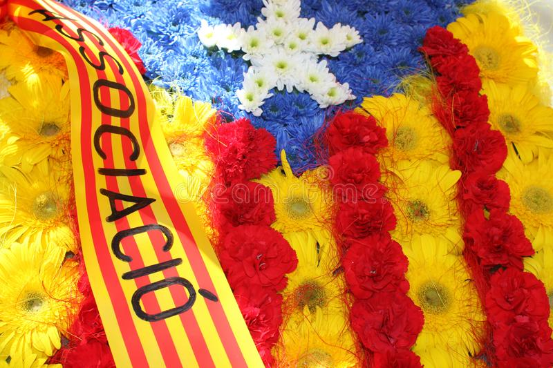 Calella, Catalonia, Spain: Flag of Catalonia made of red and yellow flowers stock photography