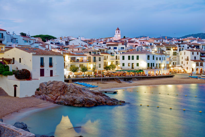 Calella de Palafrugell,肋前缘Brava,卡塔龙尼亚,西班牙 免版税库存图片