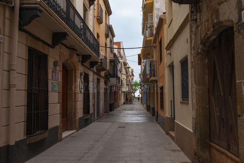 CALELLA, SPAIN - APRIL 16: Street view of Calella in Costa Brava near Barcelona, Spain 16 Aplril 2017. Famous tourist destination royalty free stock image