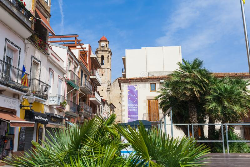 CALELLA, SPAIN - APRIL 16: Street view of Calella in Costa Brava near Barcelona, Spain 16 Aplril 2017. Famous tourist destination royalty free stock photos