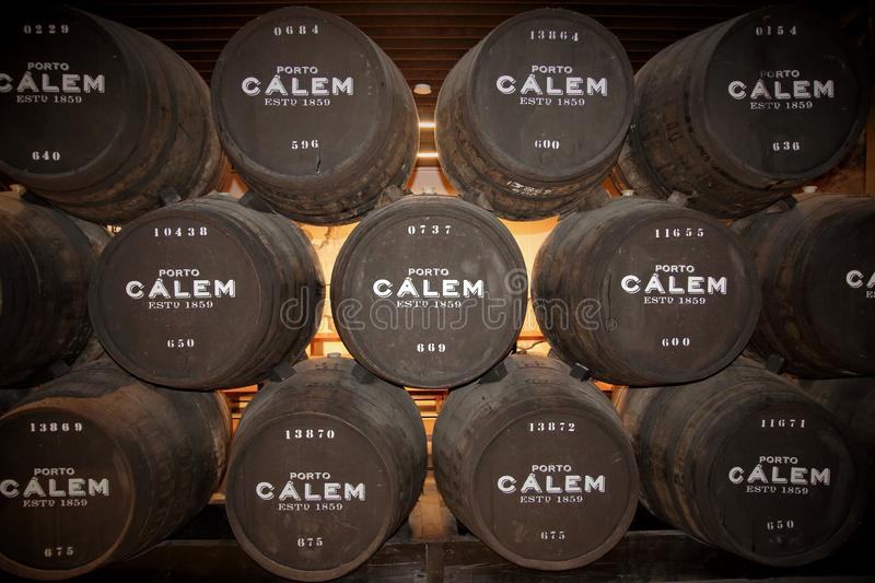 Calem port wine barrels in the caves at Porto Portugal stock images