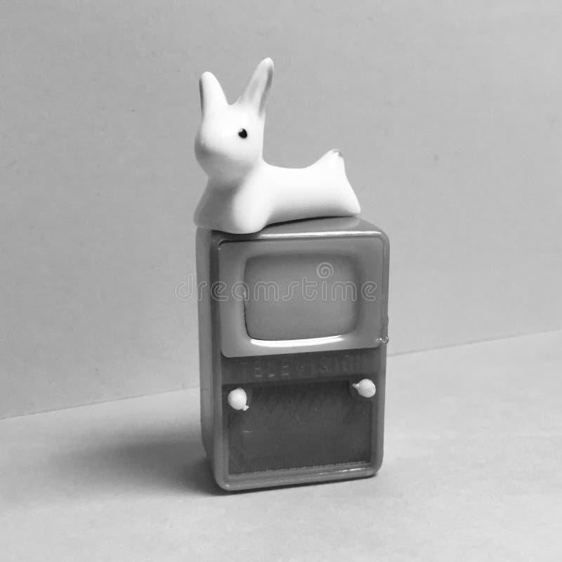 Calembour de visuel d'antenne des oreilles de lapin rétro TV image libre de droits