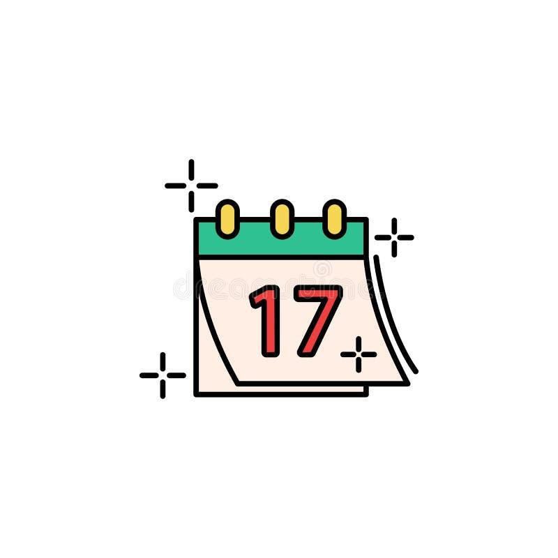 Calendário, 17, ícone da data Elemento do ícone do dia do St Patricks da cor Ícone superior do projeto gráfico da qualidade sinai ilustração stock