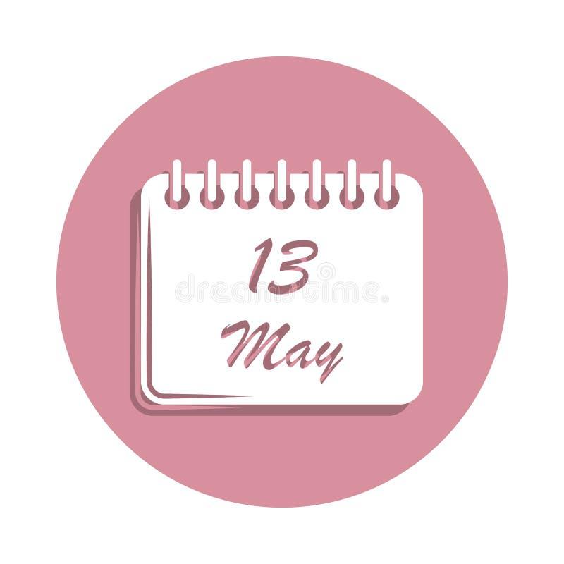 calendário ícone do 13 de maio no estilo do crachá Um do ícone da coleção do dia da mãe pode ser usado para UI, UX ilustração do vetor