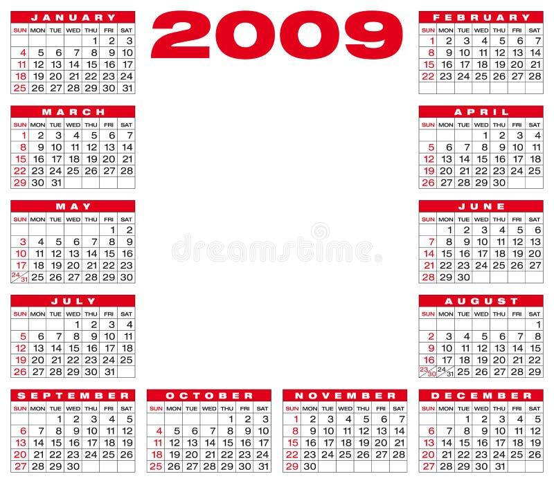 Calendário 2009 ilustração royalty free