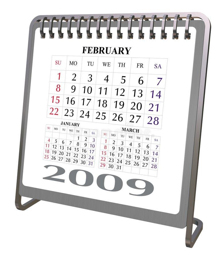 Calendário 2009 do Desktop do alumínio e do cromo ilustração royalty free