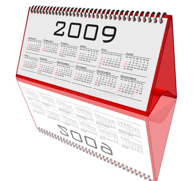 Calendário 2009 do Desktop no branco ilustração do vetor