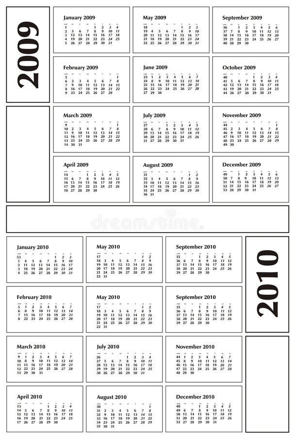 Calendário 2009 e 2010 ilustração stock