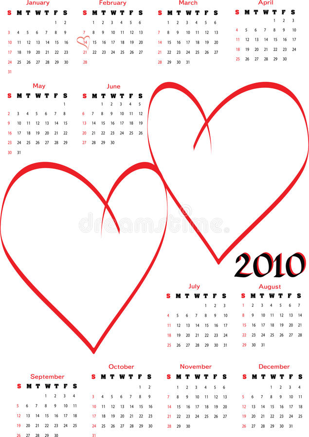 calendário 2010 com corações em branco ilustração royalty free