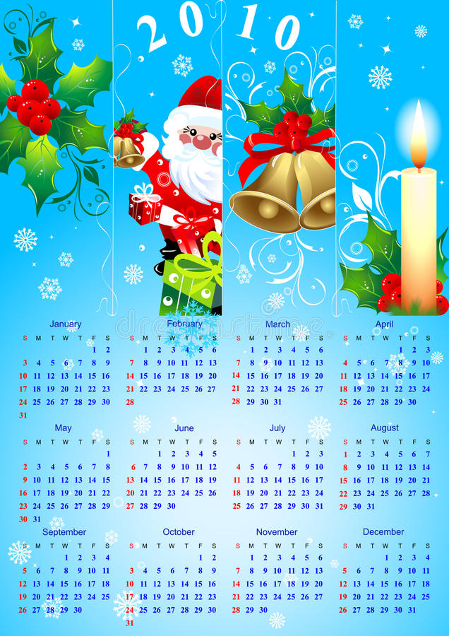 Calendário 2010 do Natal ilustração stock