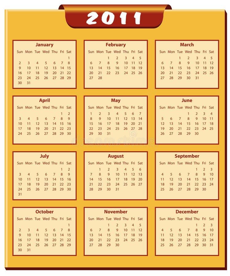 Calendário 2011 anos ilustração stock