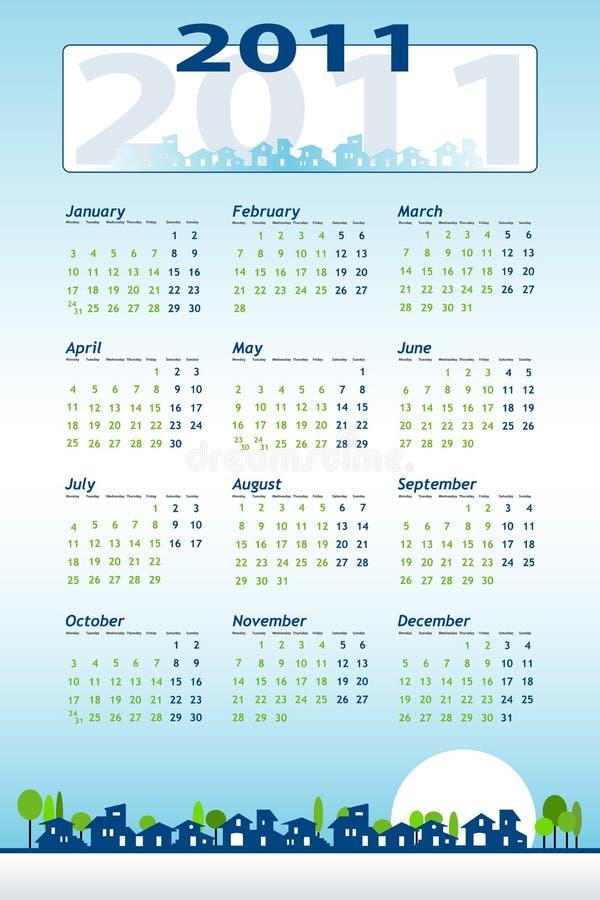 Calendário 2011 com casas ilustração stock
