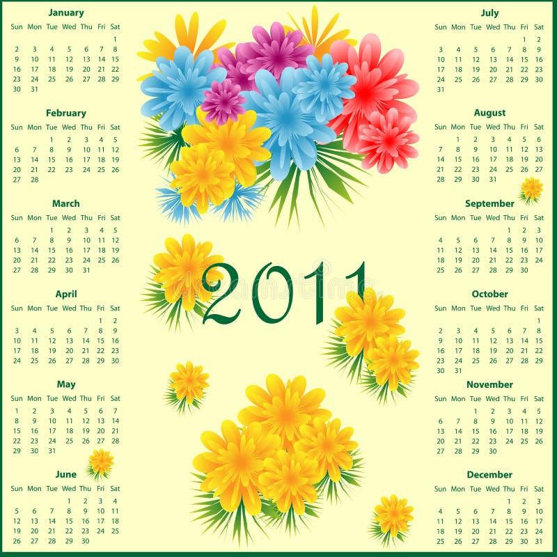 Calendário 2011 com flores ilustração stock