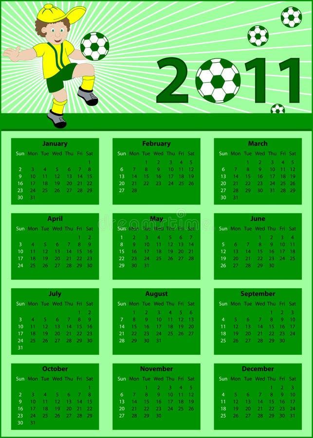 Calendário 2011 com jogador de futebol ilustração royalty free
