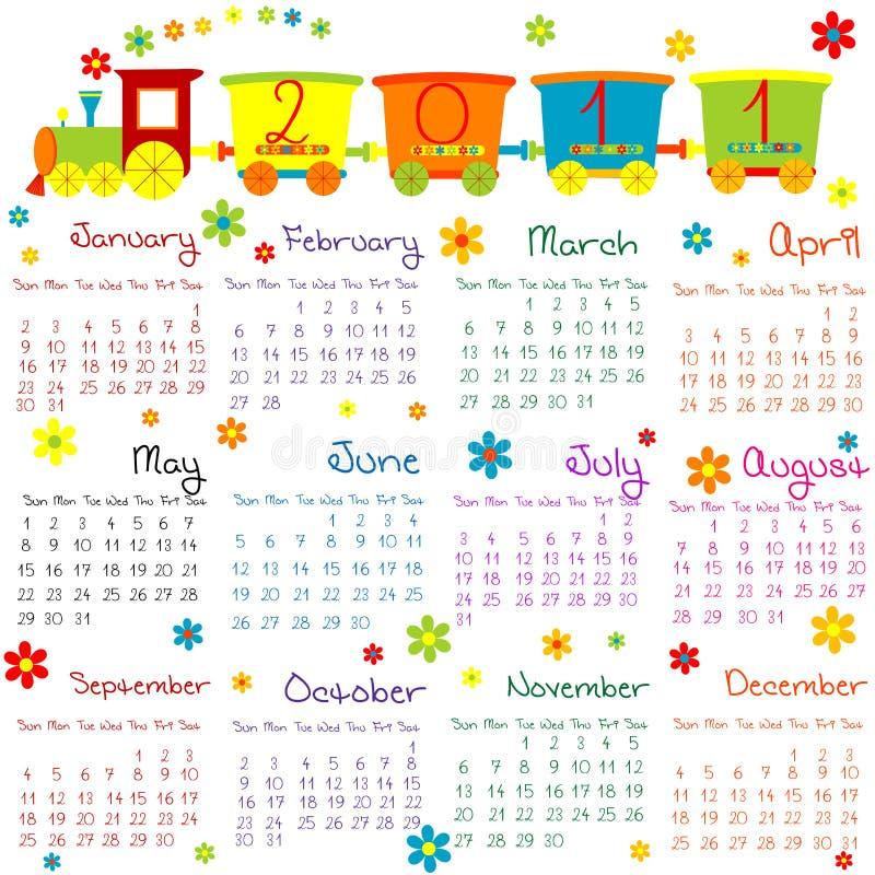 calendário 2011 com o trem para miúdos ilustração stock