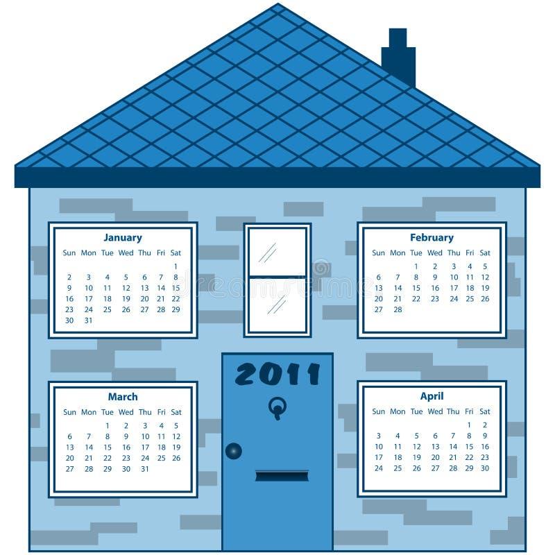 Calendário 2011 em uma casa azul ilustração do vetor