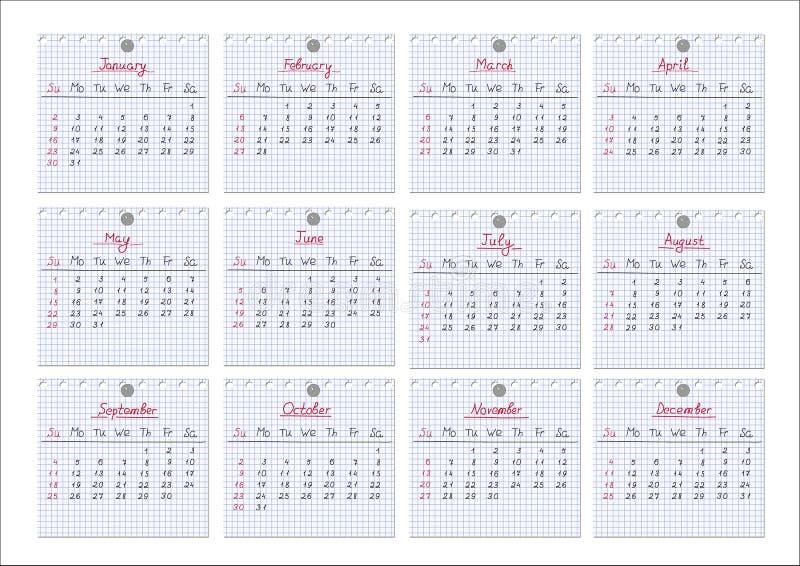 Calendário 2011. Folhas do bloco de notas. ilustração royalty free