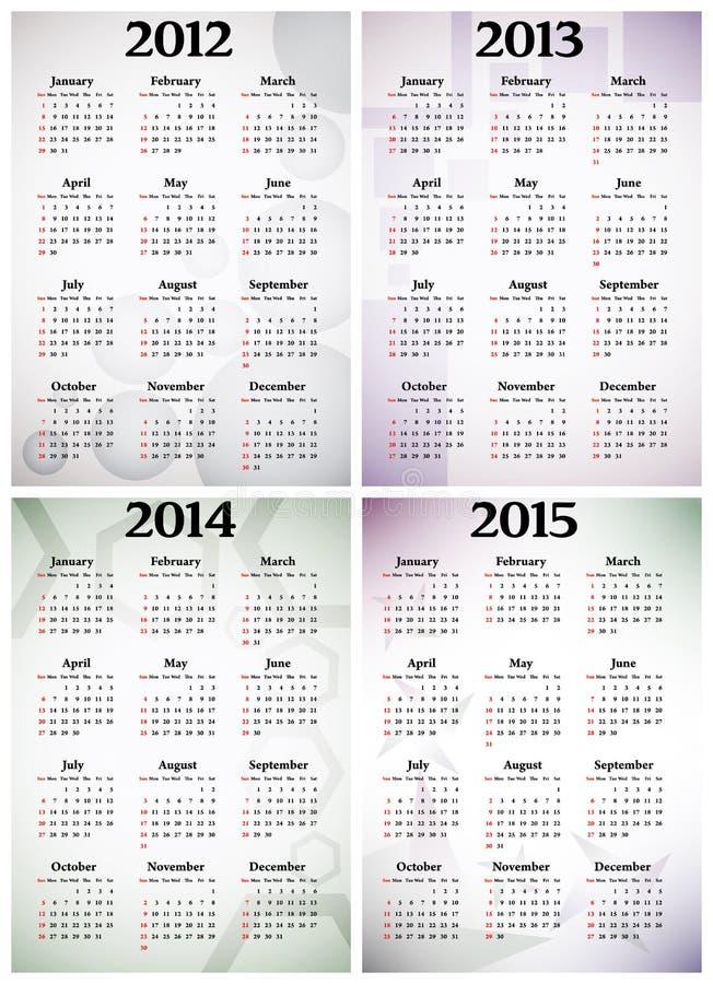 Calendário 2012 - 2015 ilustração do vetor