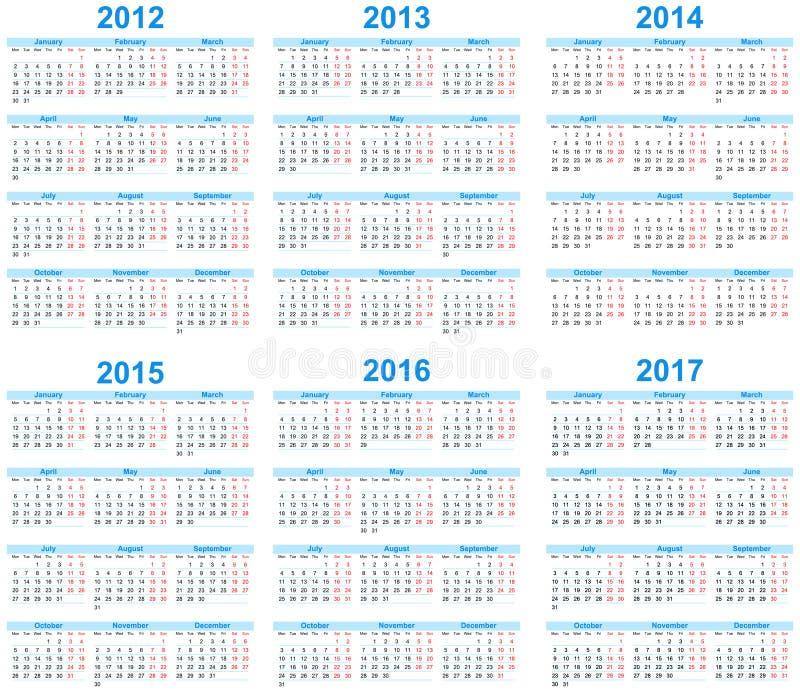 Calendário 2012 -2017
