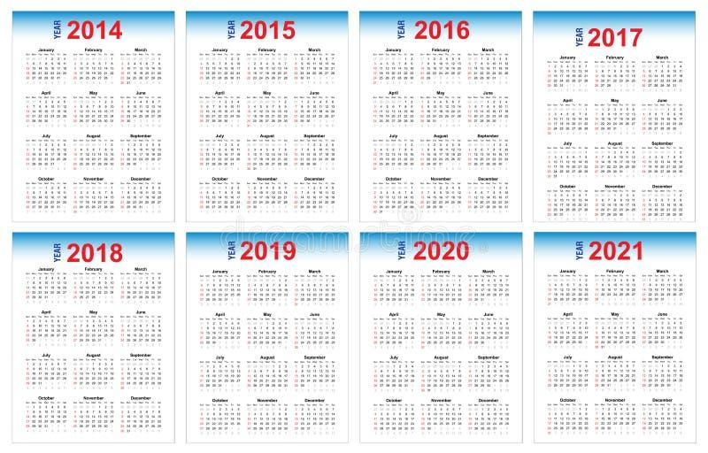Calendário 2014-2021 ilustração stock