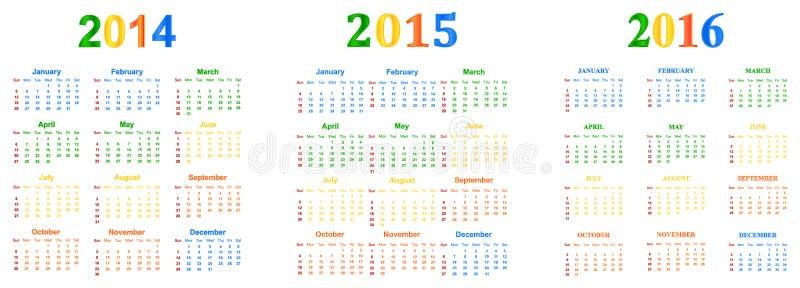 2014-2016 calendário ilustração stock