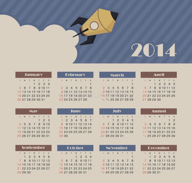 Calendário 2014 ilustração royalty free