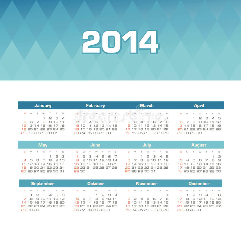 Calendário 2014 ilustração stock