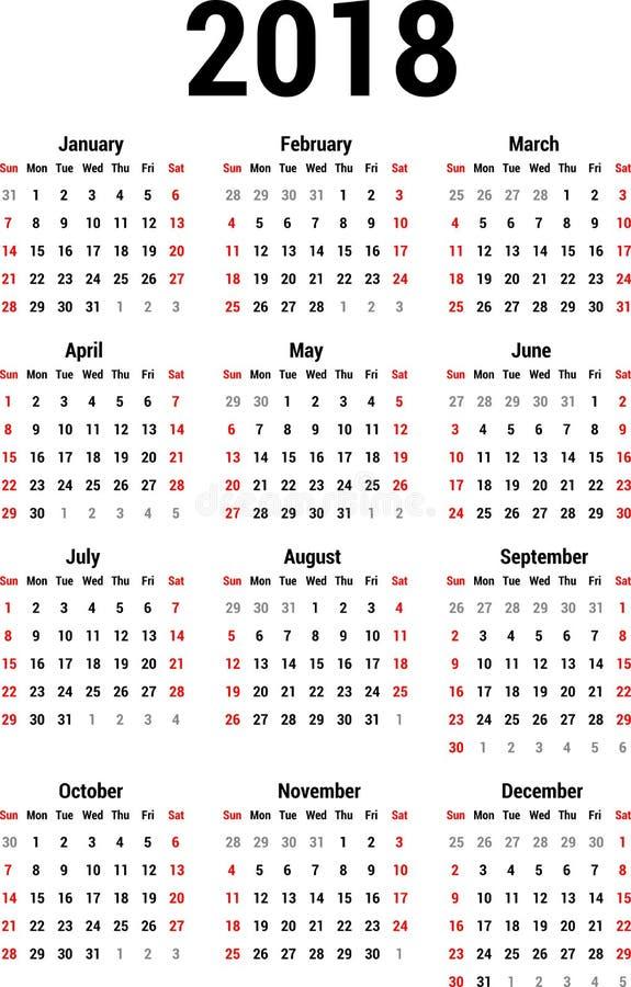 Calendário 2018 ilustração do vetor
