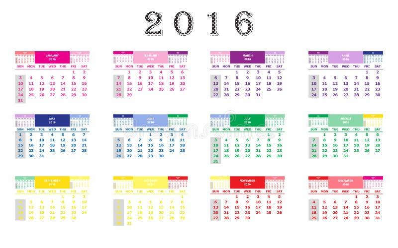 Calendário 2016 imagem de stock royalty free
