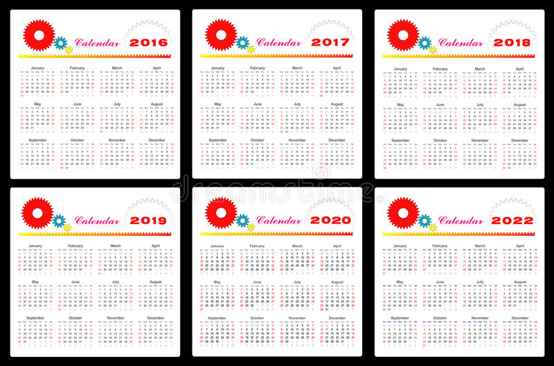 Calendário 2016-2022 ilustração stock