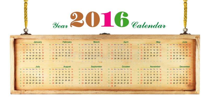 Calendário 2016 ilustração stock