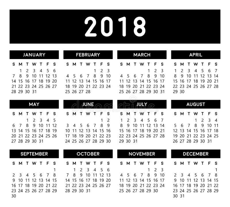 Calendário 2018 ilustração royalty free