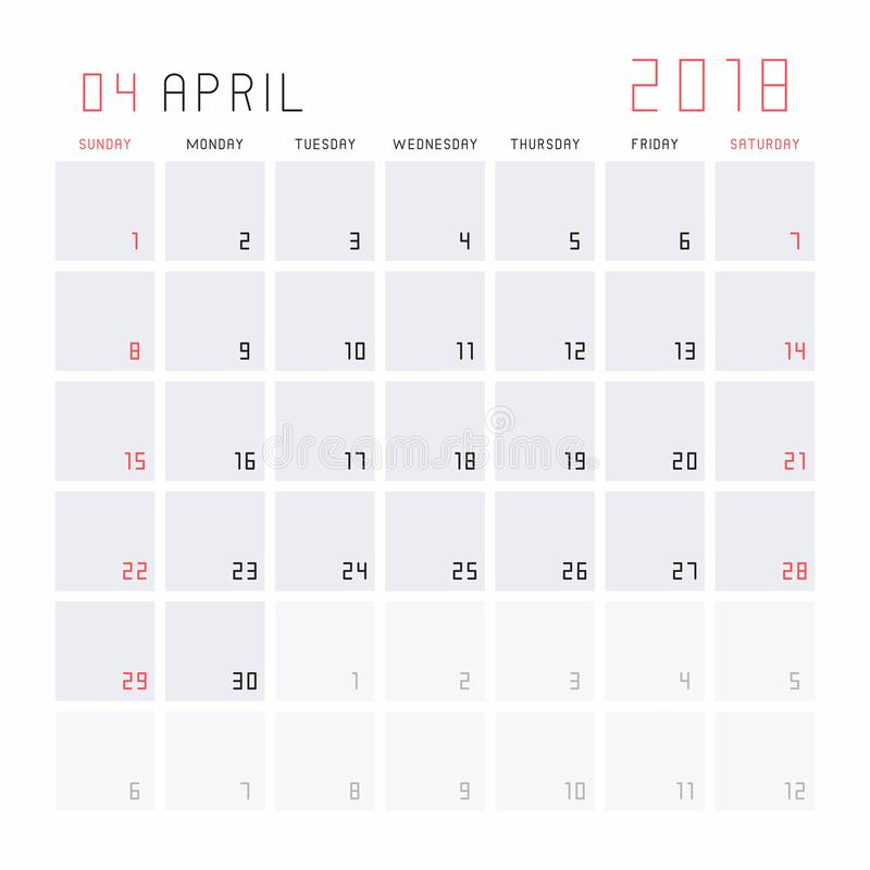 Calendário abril de 2018 ilustração do vetor