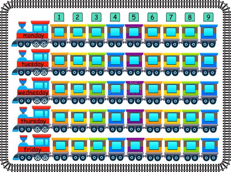 Calendário alegre da escola feito por trens e por vagões ilustração do vetor