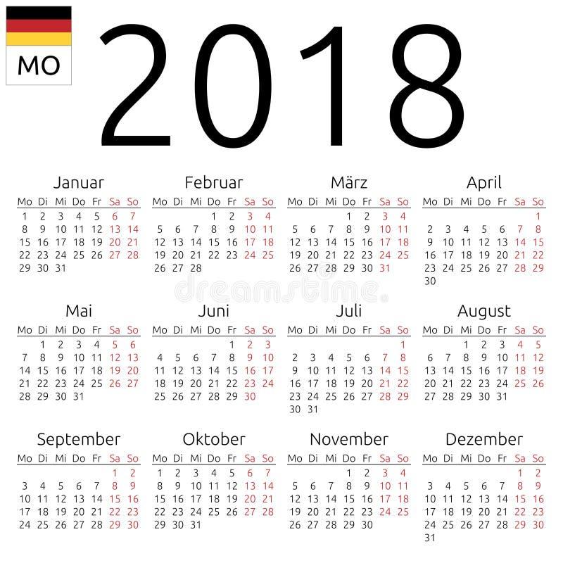 Calendário 2018, alemão, segunda-feira ilustração do vetor
